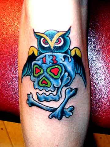 Owl With 13 Danger Skull Tattoos
