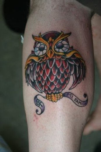 Owl With Banner Tattoos