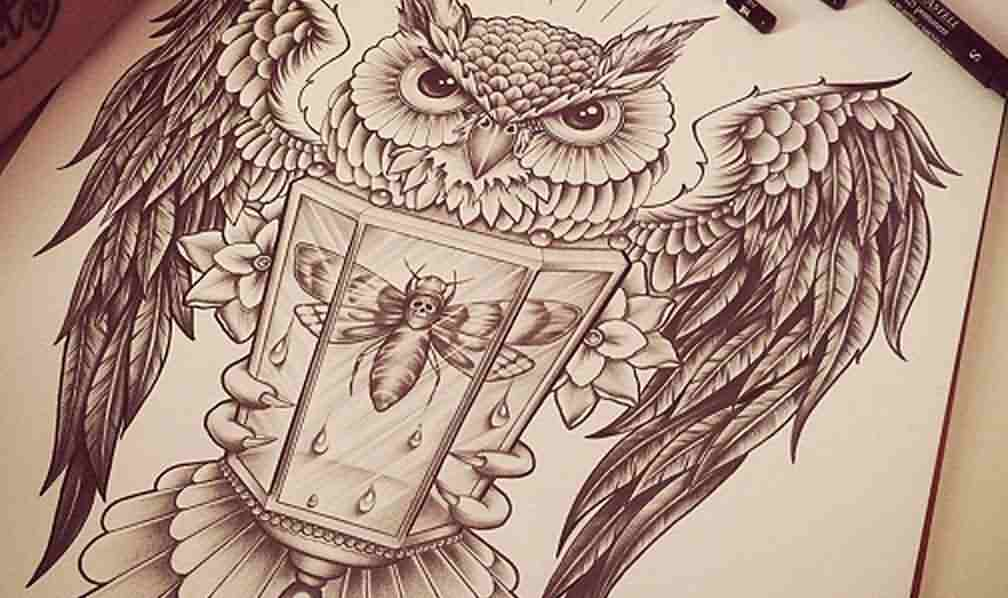 Owl With Bee Lamp Tattoo Design Page