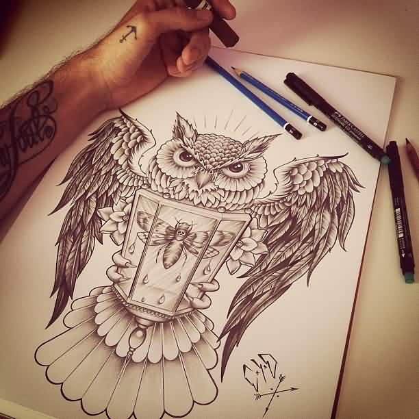 Owl With Bee Lamp Tattoo Sketch
