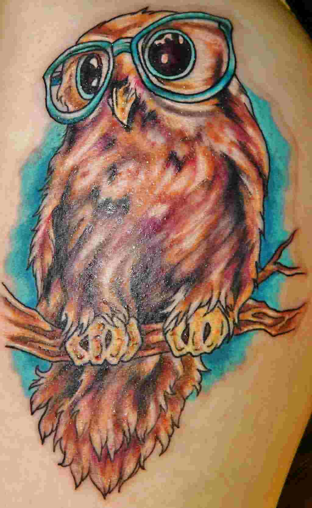 Owl With Blue Glasses Tattoo