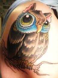 Owl With Color Eyes Tattoo