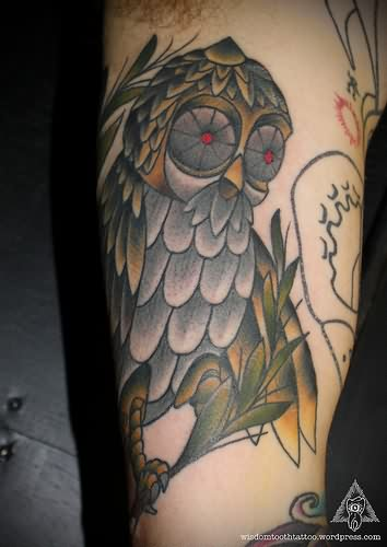 Owl With Flowers Eyes Tattoos On Arm
