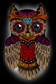 Owl With Heart Nose Tattoo Design