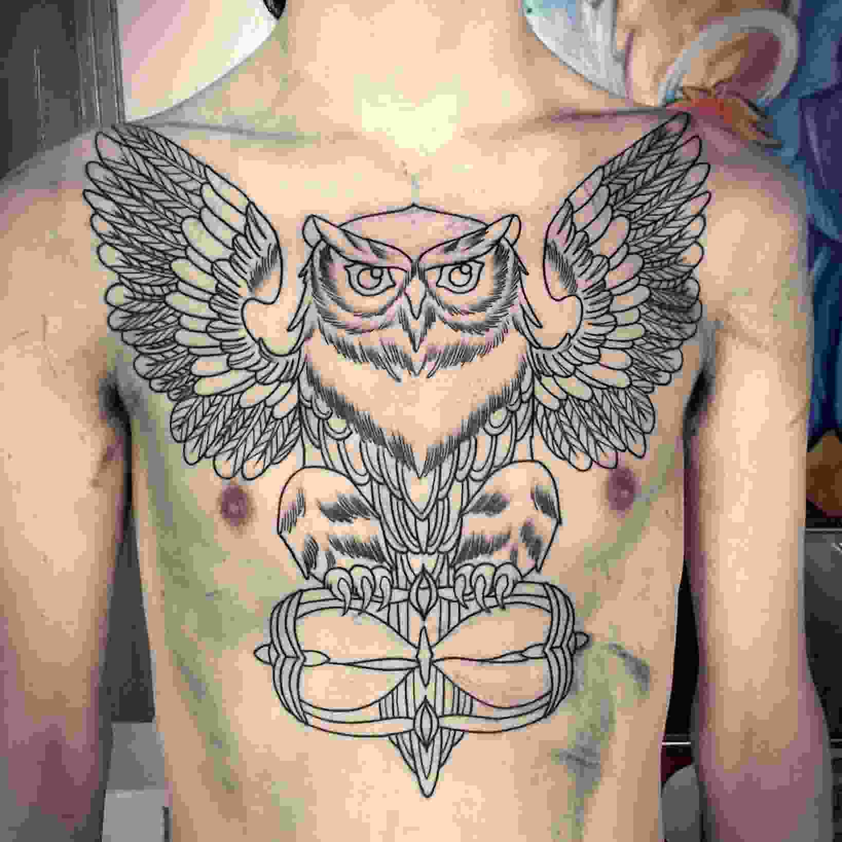 Owl With Hourglass Tattoo On Chest