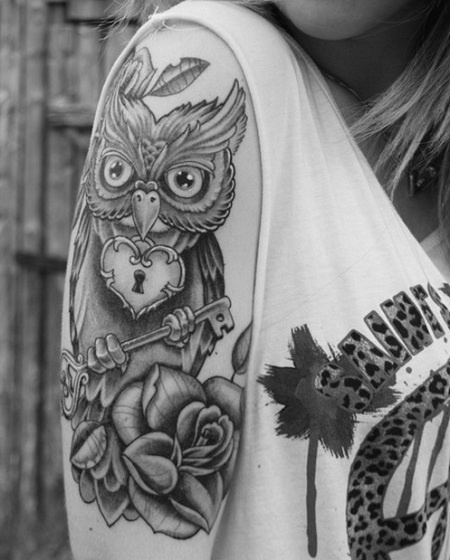 Owl With Key And Rose Tattoos On Arm