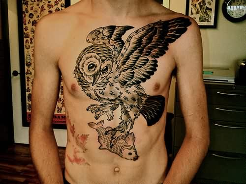 Owl With Koi Fish Tattoo On Front