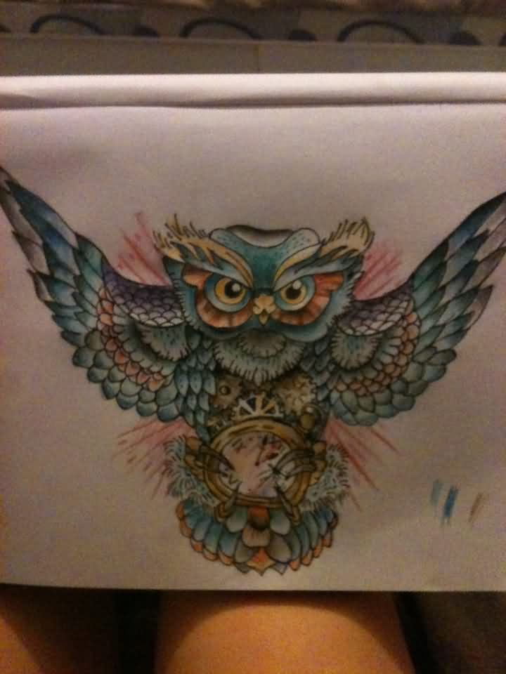 Owl With Open Wings Tattoo Design