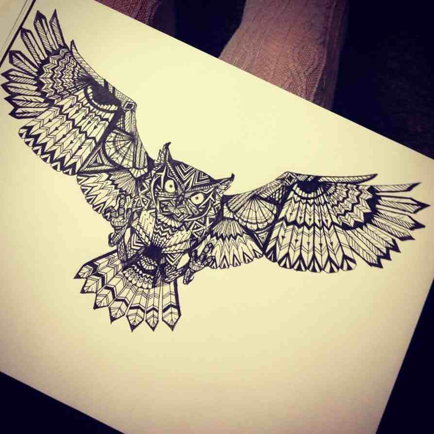 Owl With Open Wings Tattoo Page