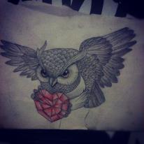 Owl With Red Crystal Heart Tattoo Design