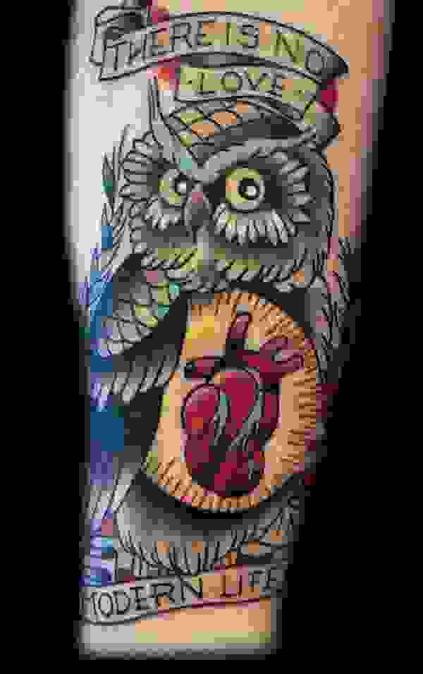 Owl With Red Heart Tattoo