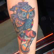 Owl With Sandclock Tattoos