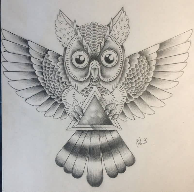 Owl With The Hipster Triangle Tattoo Sketch