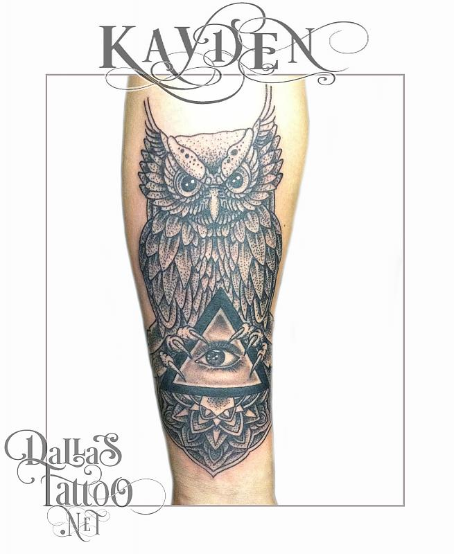 Owl With Triangle Eye Tattoo