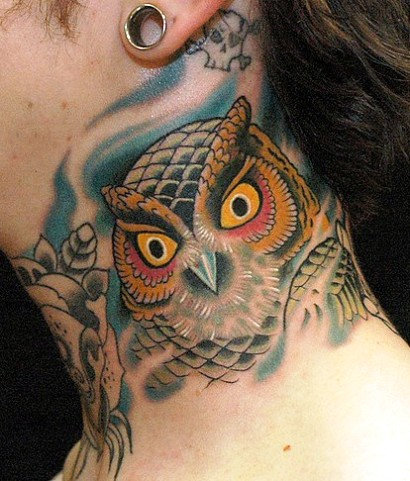 Owl With Yellow Eyes Tattoo On Side Neck