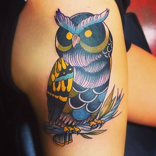 Owl With Yellow Eyes Tattoo
