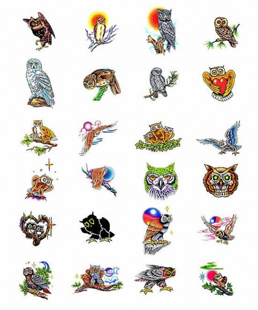 Owls Colorful Tattoo Designs