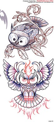 Owls Tattoos Set