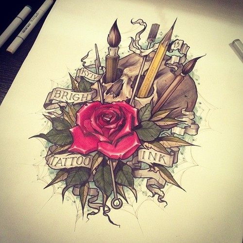 Painting Brush Pencil And Rose Tattoo Design
