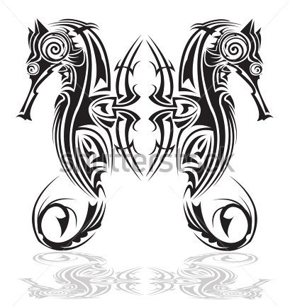 Pair Of Seahorse In Tribal Tattoo Design