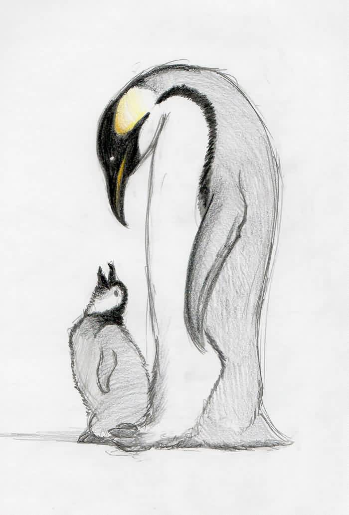 Parental Penguin Tattoo Design