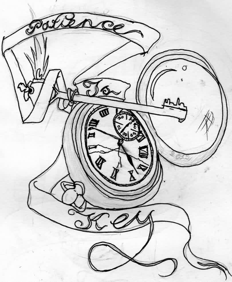 Patience Is Key Clock Tattoo Drawing
