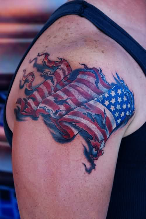 Patriotic Flag 3D Tattoo On Shoulder