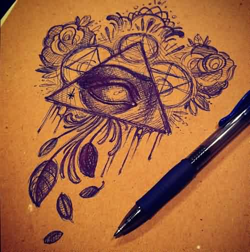 Pen Ink Flowers And Triangle Eye Tattoo Design