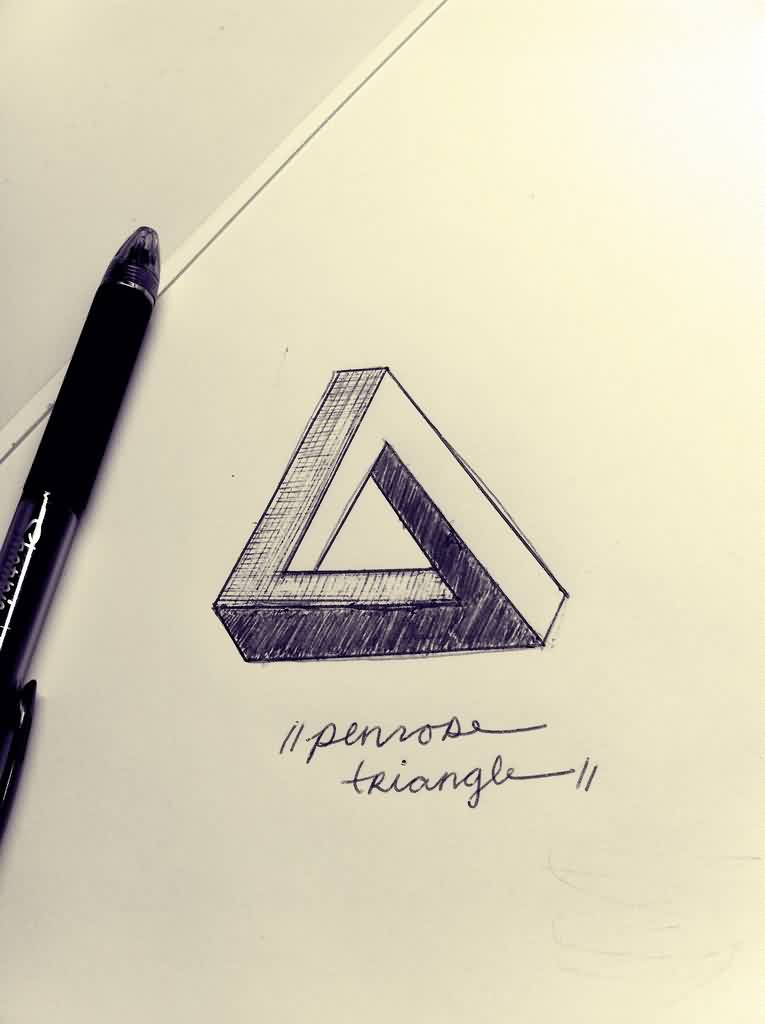 Pen Ink Penrose Triangle Tattoo Design