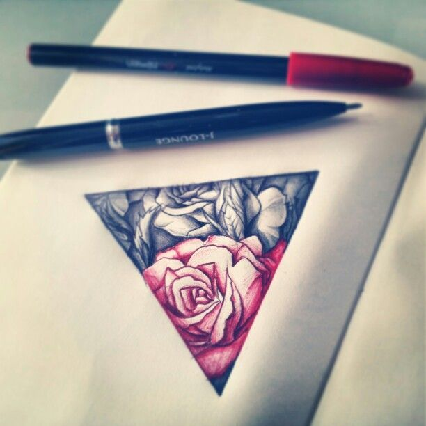 Pen Ink Roses Triangle Tattoo Design