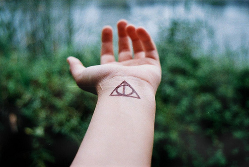 Pen Ink Triangle Tattoo On Inner Wrist