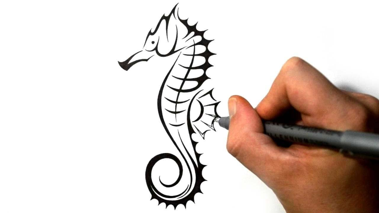 Pen Ink Tribal Seahorse Tattoo Design