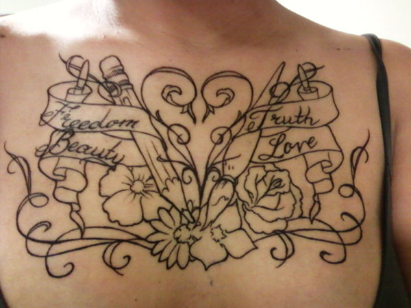 Pencil Airbrush And Flowers Chestpiece Tattoos