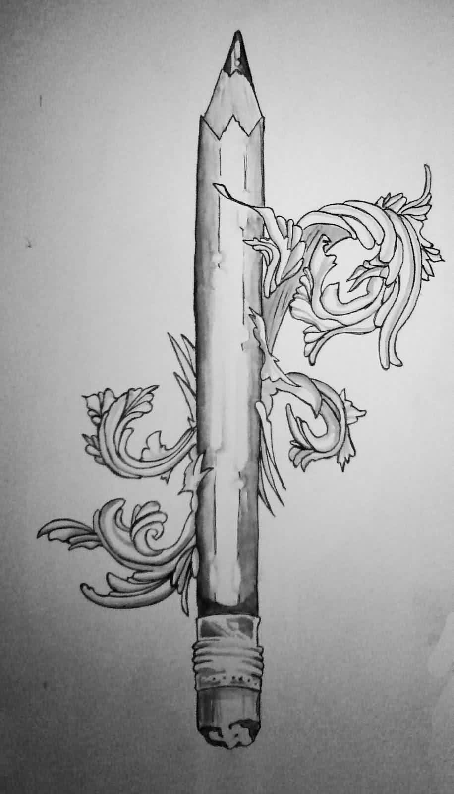 Pencil And Filigree Tattoo Design