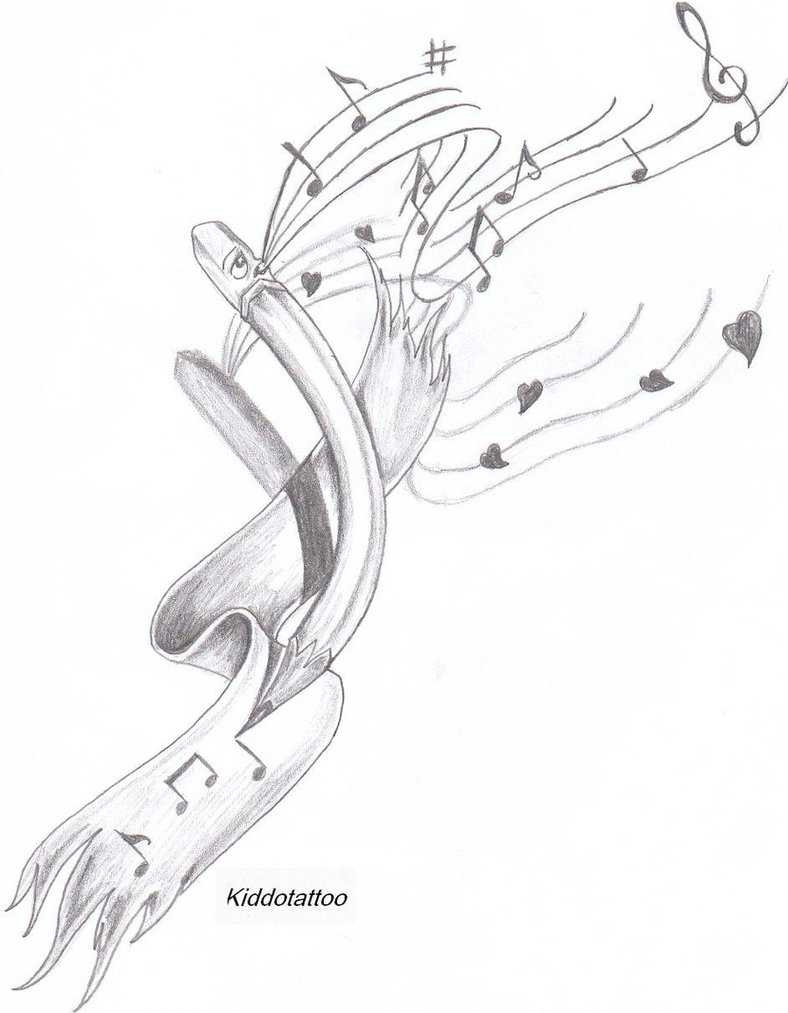 Pencil Loving Music Tattoo Sketch