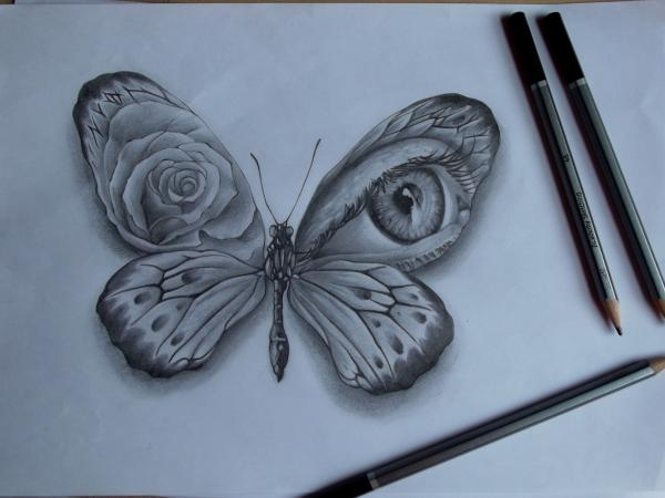 Pencil Sketch Of Butterfly Tattoo