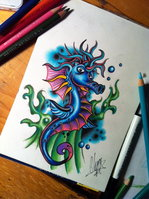 Pencil Sketch Seahorse Tattoo Design Page
