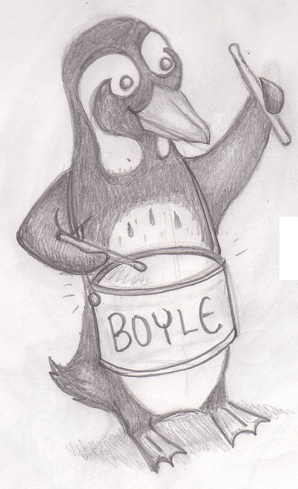 Penguin Beating Drum Tattoo Sketch