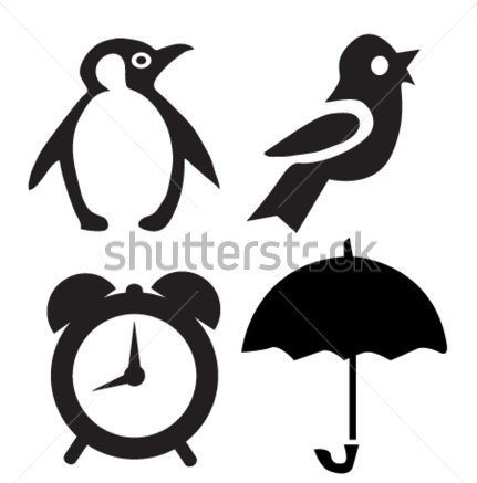 Penguin Bird Umbrella Tattoos Set
