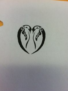 Penguin Couple Heart Tattoo Design