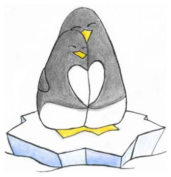 Penguin Couple Standing On Rock Tattoo Design