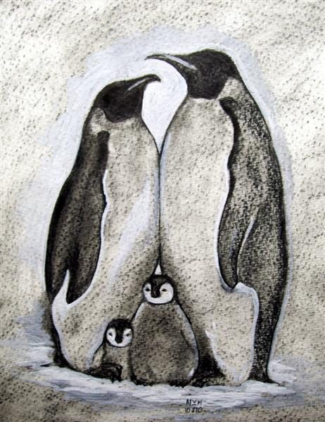 Penguin Family Tattoo Sketch