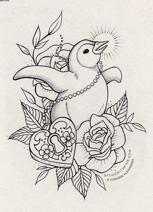 Penguin Heart Lock And Roses Tattoos Design
