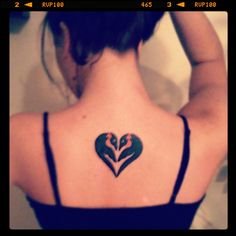 Penguin Love Heart Tattoo On Upperback