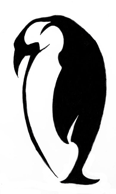 Penguin Tattoo Stencil