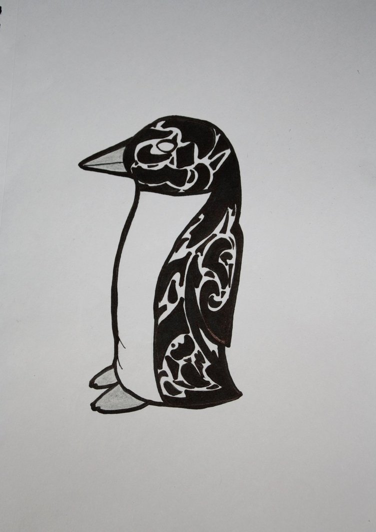 Penguin Tribal Tattoo Design