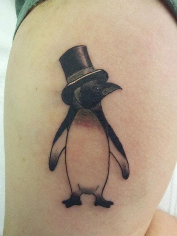 Penguin With Black Hat Tattoo