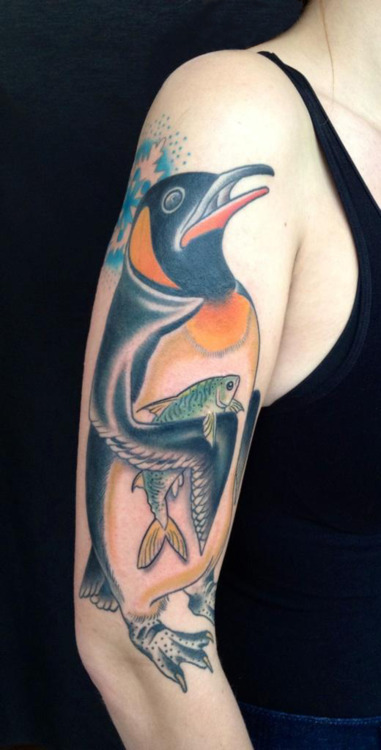Penguin With Fish Tattoo On Half Sleeve