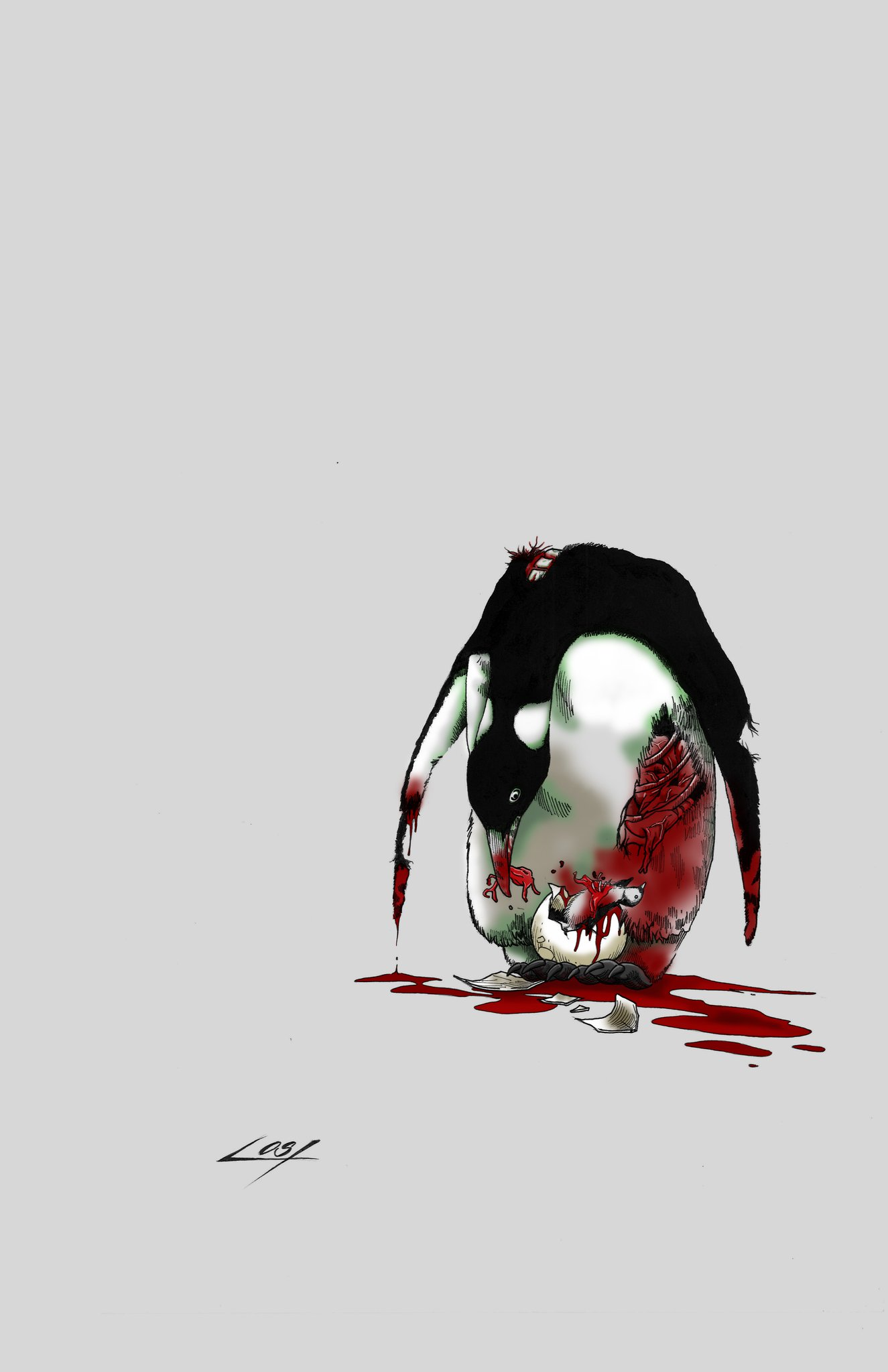 Penguin Zombie Tattoo Design