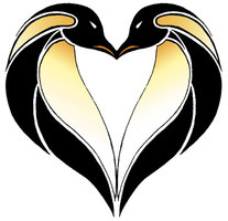 Penguins Love Heart Tattoo Design
